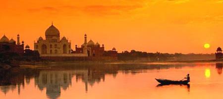 El Atardecer en el Taj Mahal, India
