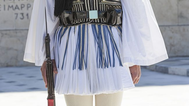 Fustanella, uniforme oficial de la Guardia Presidencial griega