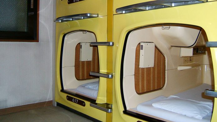 Typical capsule hotels in Japan