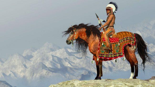 Indio americano sobre caballo Appaloosa