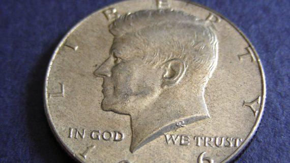 John F. Kennedy on half dollar coin