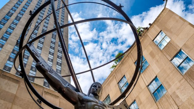 La statue de l'Atlas à côté du Rockefeller Center, New York
