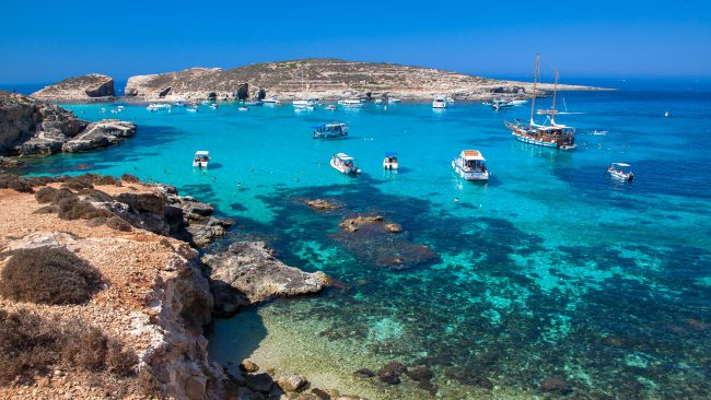 The island of Comino and its Blue Lake