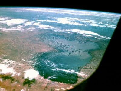 Lago Chad  en 1968, foto tomada por el Apolo 7.