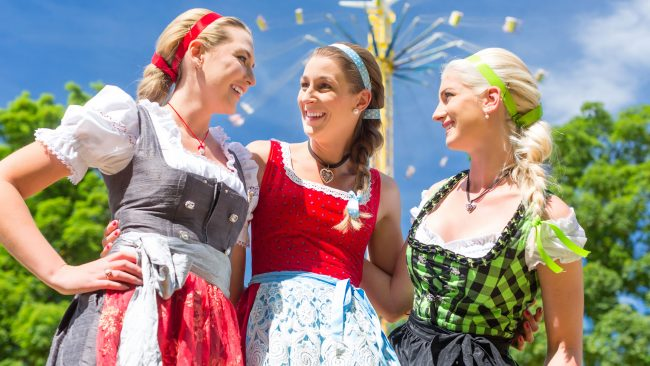 German women with the traditional Dirndl