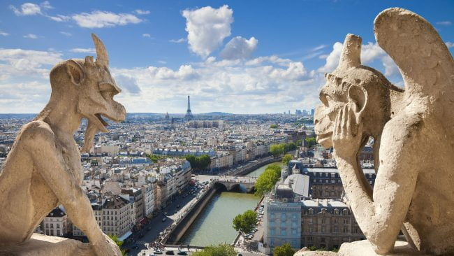 Las famosas gárgolas o quimeras de Notre Dame, París