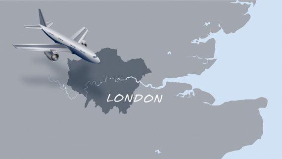 Llegar a Londres en en avión