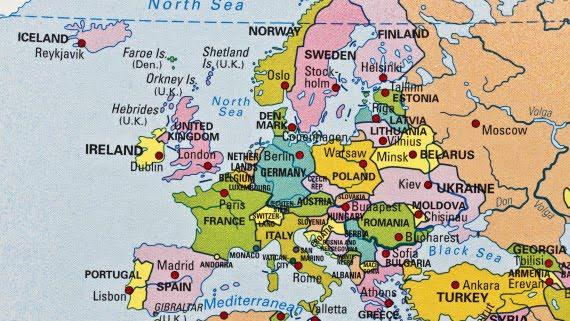 Localización del Reino Unido en Europa