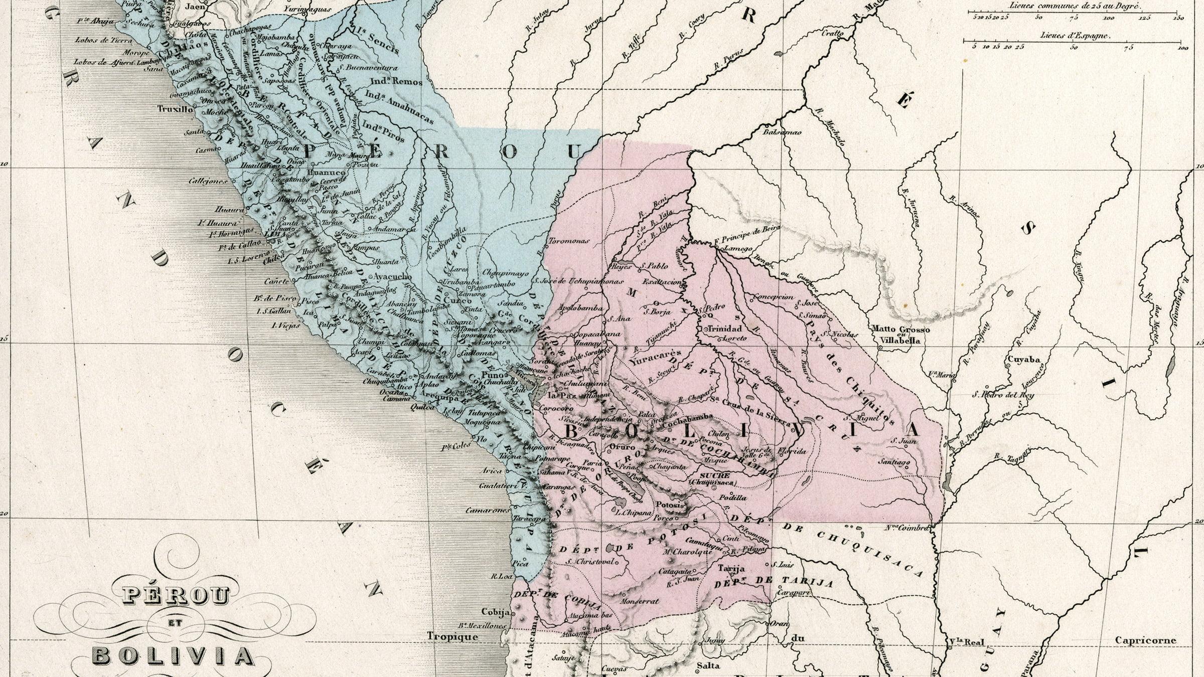 Mapa Antiguo De Peru Y Bolivia