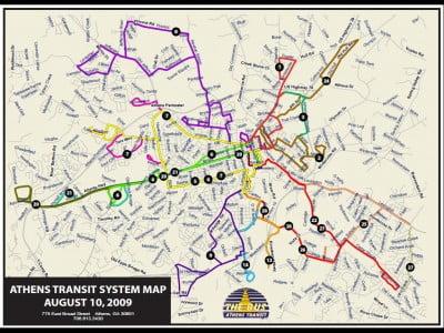 Mapa del autobús de Atenas