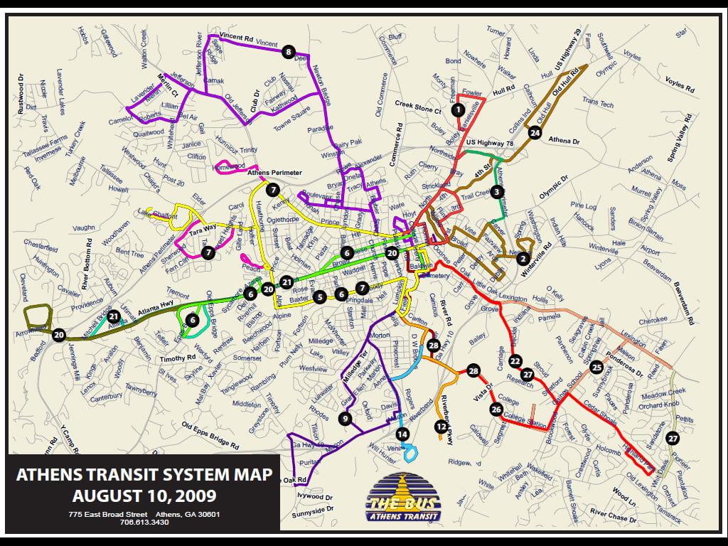 Mapa de los autobuses de Atenas consiste en 28 rutas.