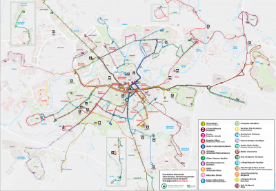 Mapa del autobús de Pamplona