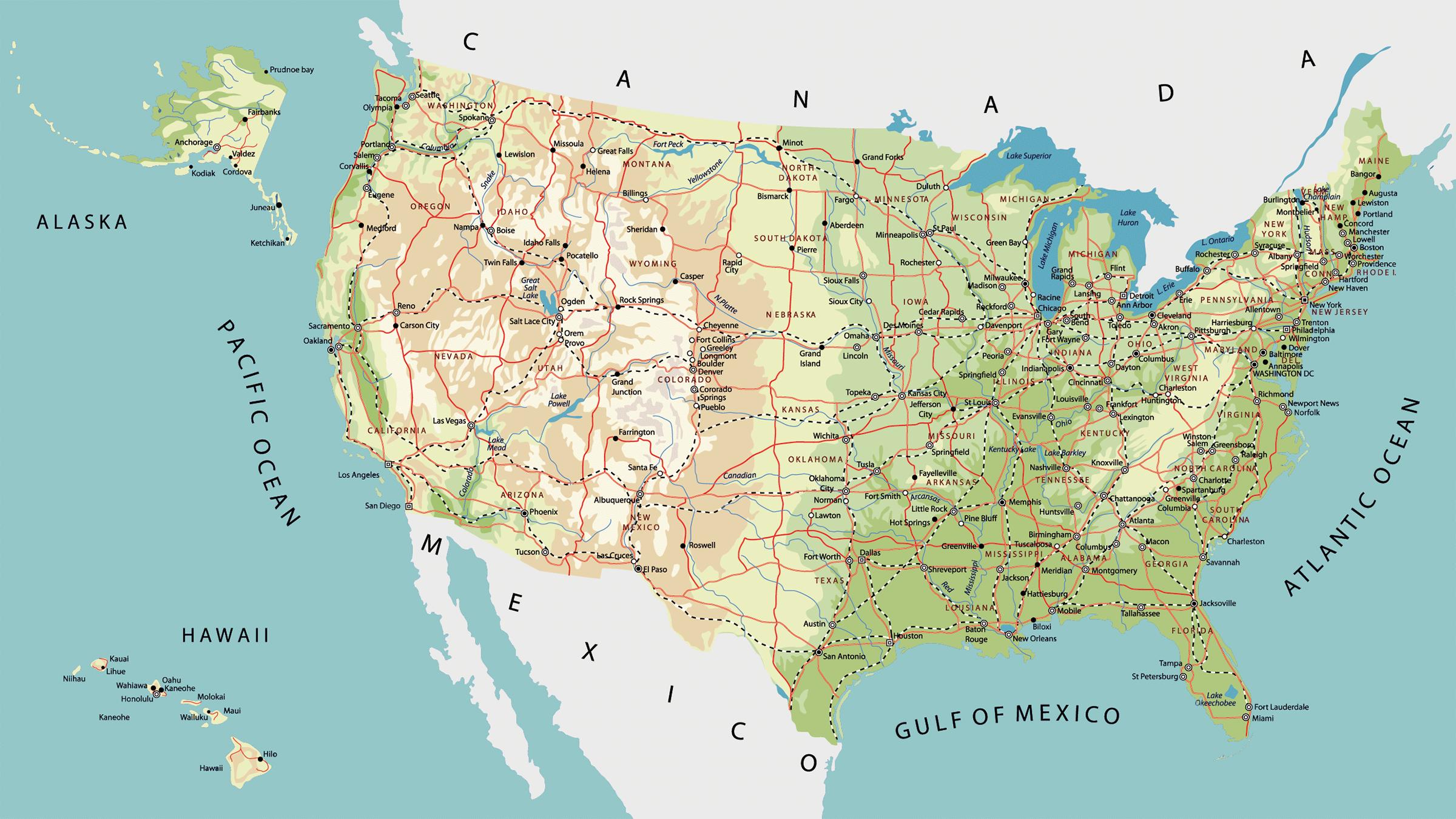 Mapa De Carreteras De Estados Unidos - Mapas usa