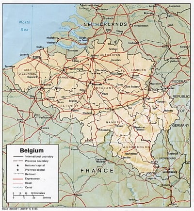Mapa de carreteras de Bélgica