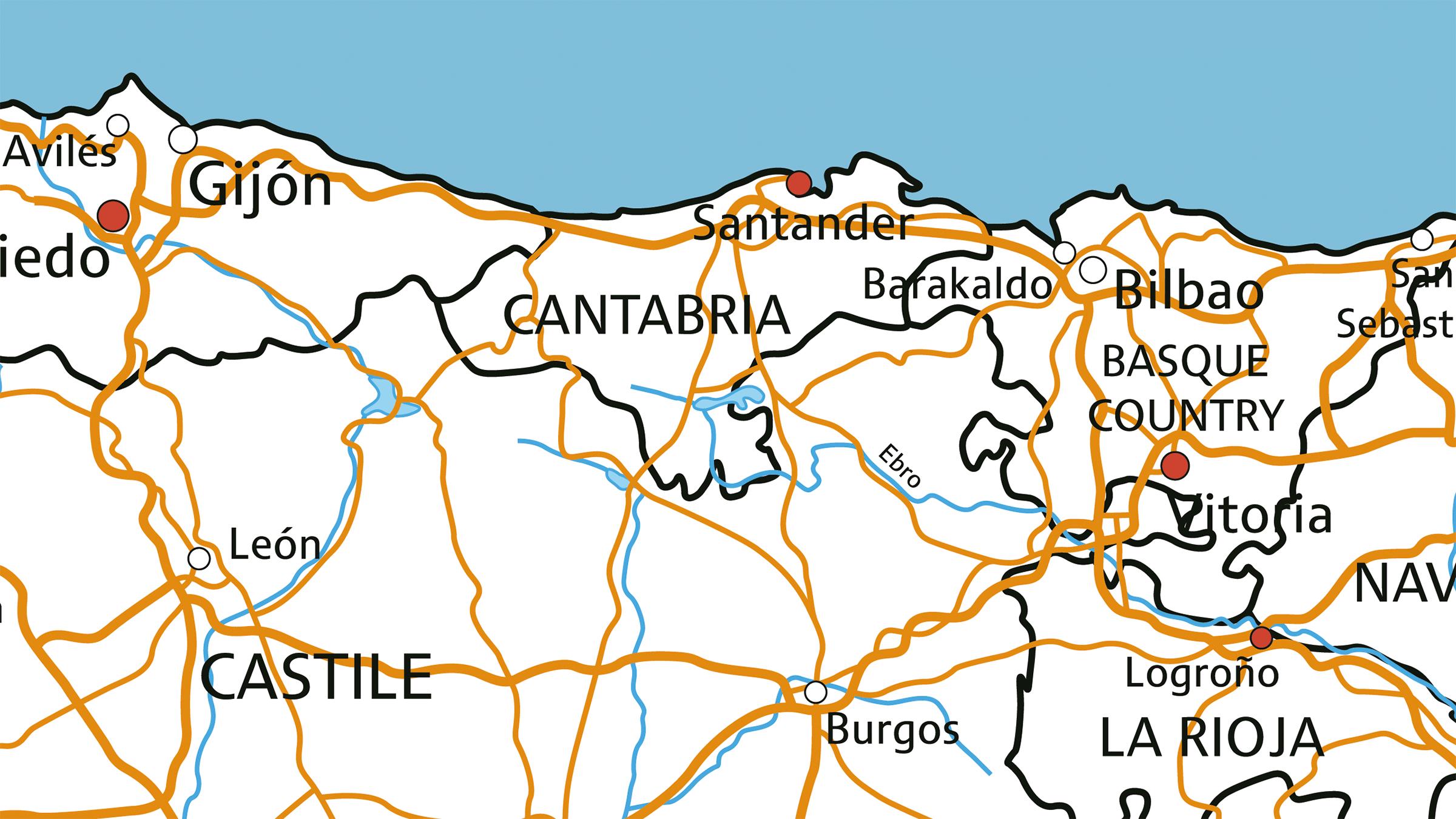 Mapa de las carreteras de Cantabria