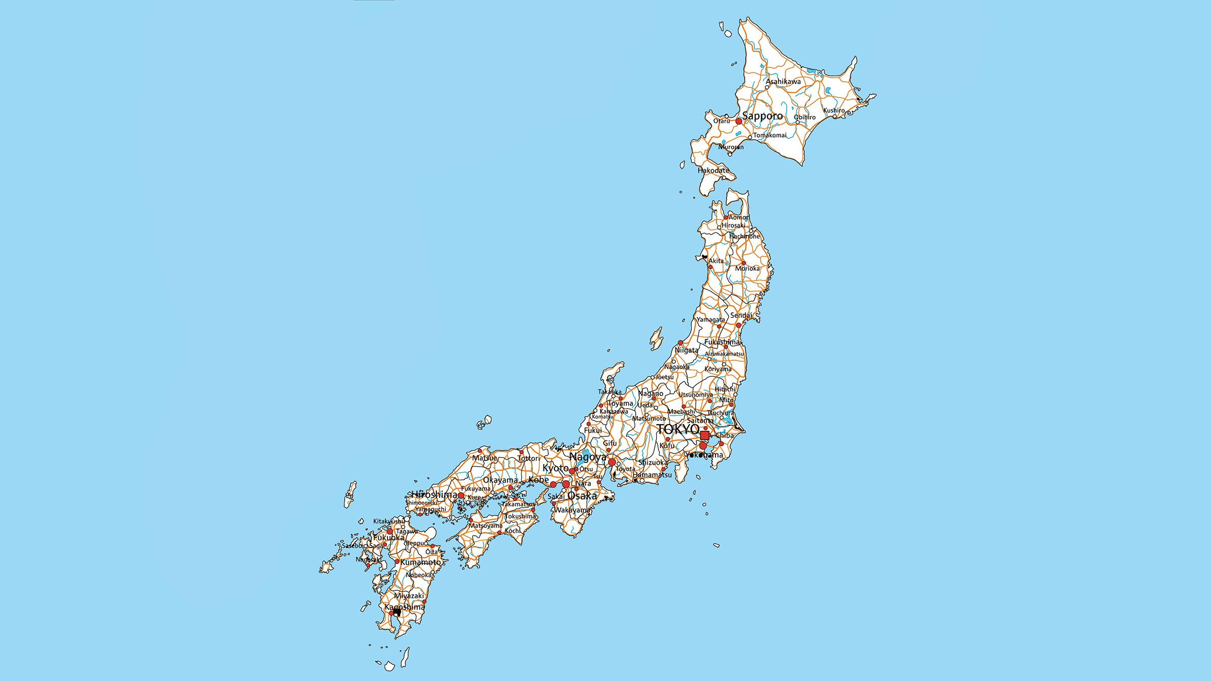 Mapa de carreteras de Japón