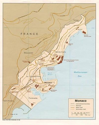 Mapa de carreteras de Mónaco