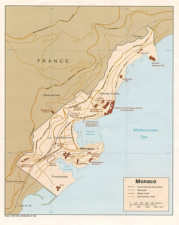 Mapa De Carreteras De Monaco
