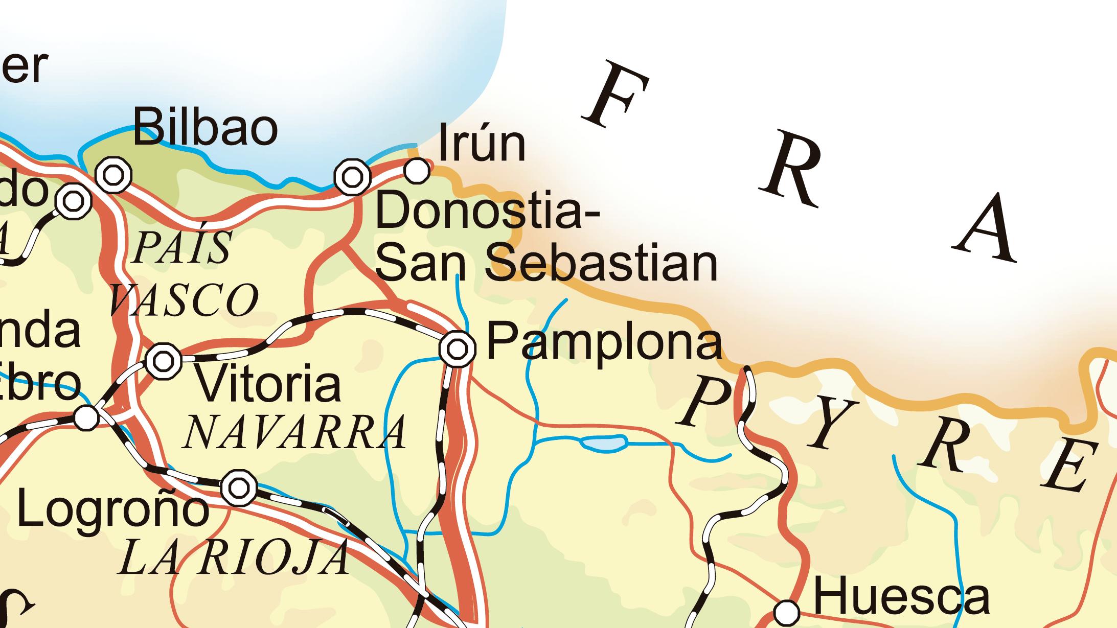 Mapa de las carreteras de Navarra