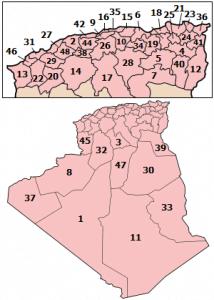 Mapa de Argelia  provincias