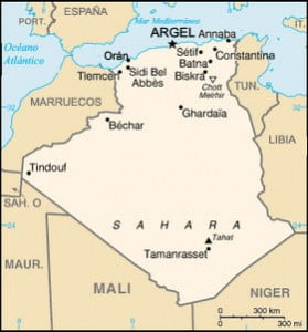 Mapa de Argelia y sus fronteras