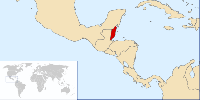 mapa de Belice ubicación en América