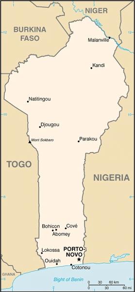 Mapa de Benín con sus fronteras