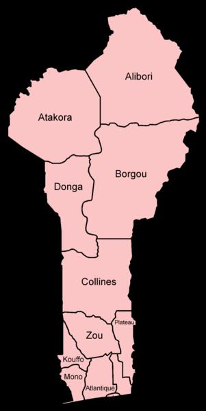 mapa de Benín y sus provincias