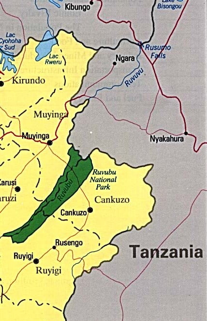Mapa de Burundi limite con Tanzania