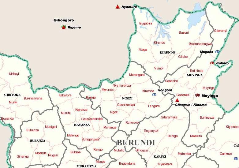 Mapa de burundi zona norte for Grabado de cristales zona sur