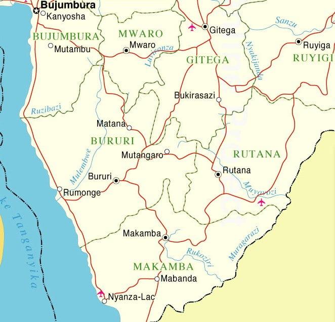 Mapa de Burundi zona sur