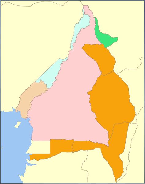 Mapa de Camerún entre 1911 y 1916.