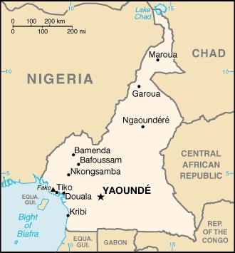 Mapa de Camerún Principales hitos políticos y geográficos