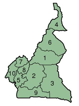 Mapa de Camerún provincias