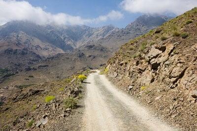 Mapa de carreteras de Marruecos montañas