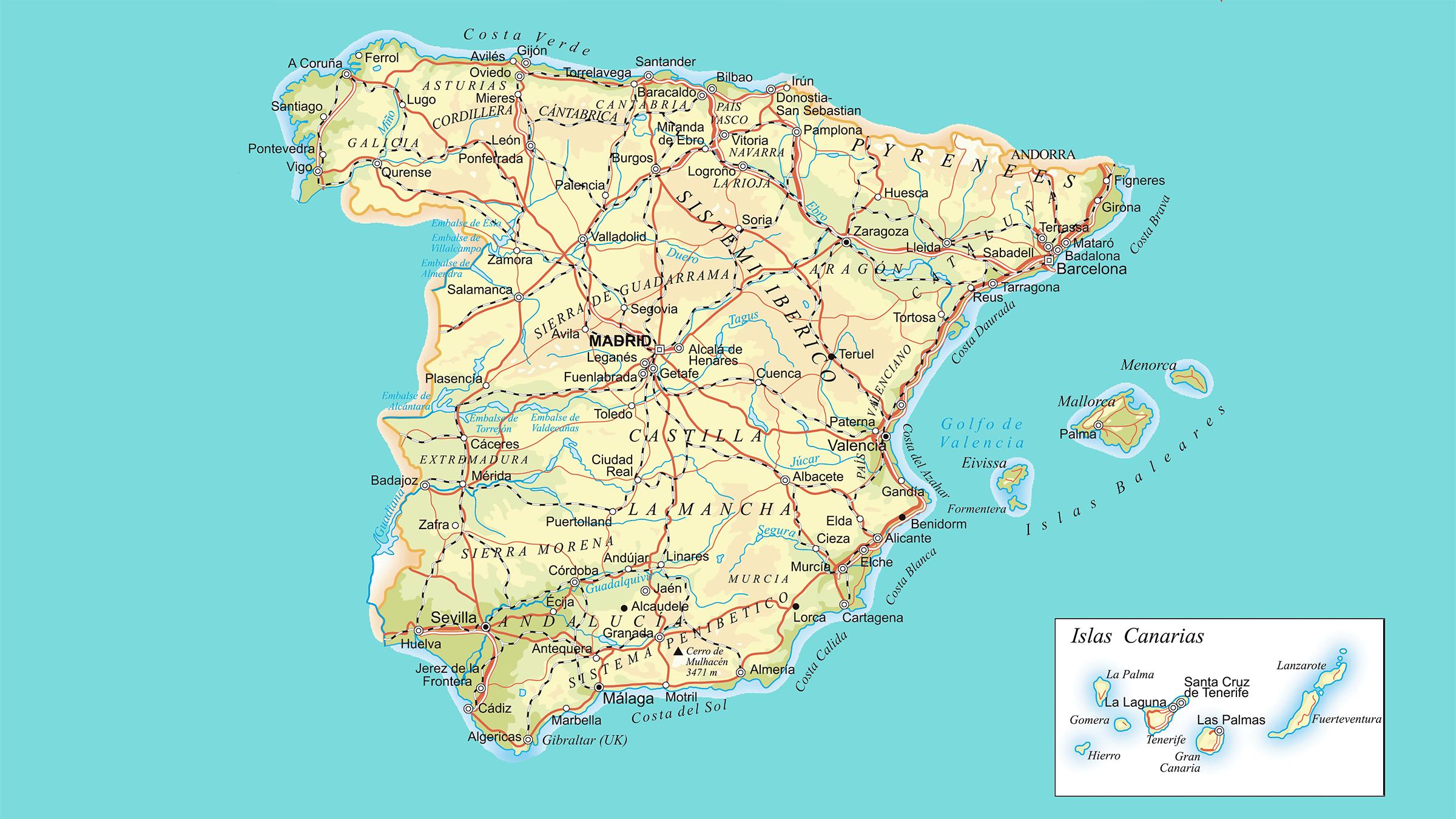 Mapa De España Carreteras.Mapa De Carreteras De Espana