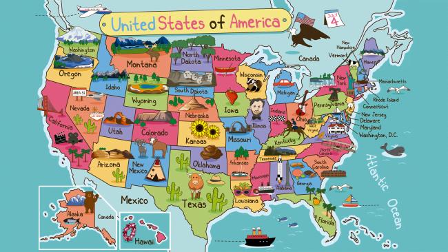 Mapa de Estados Unidos con dibujos