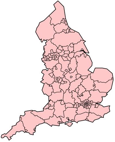 Mapa de Inglaterra divisiones