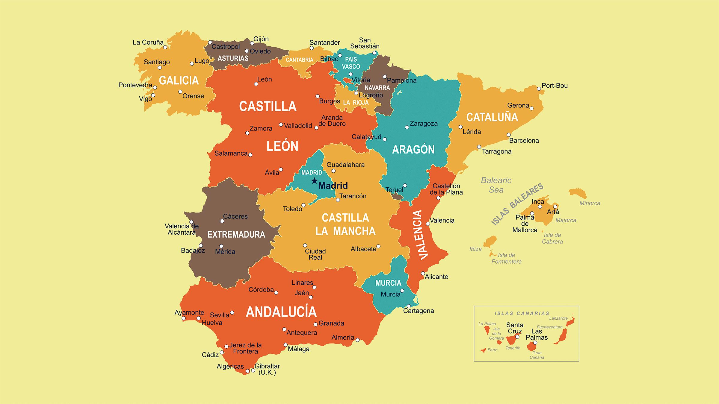 Mapa de la divisin de Espaa en comunidades autnomas