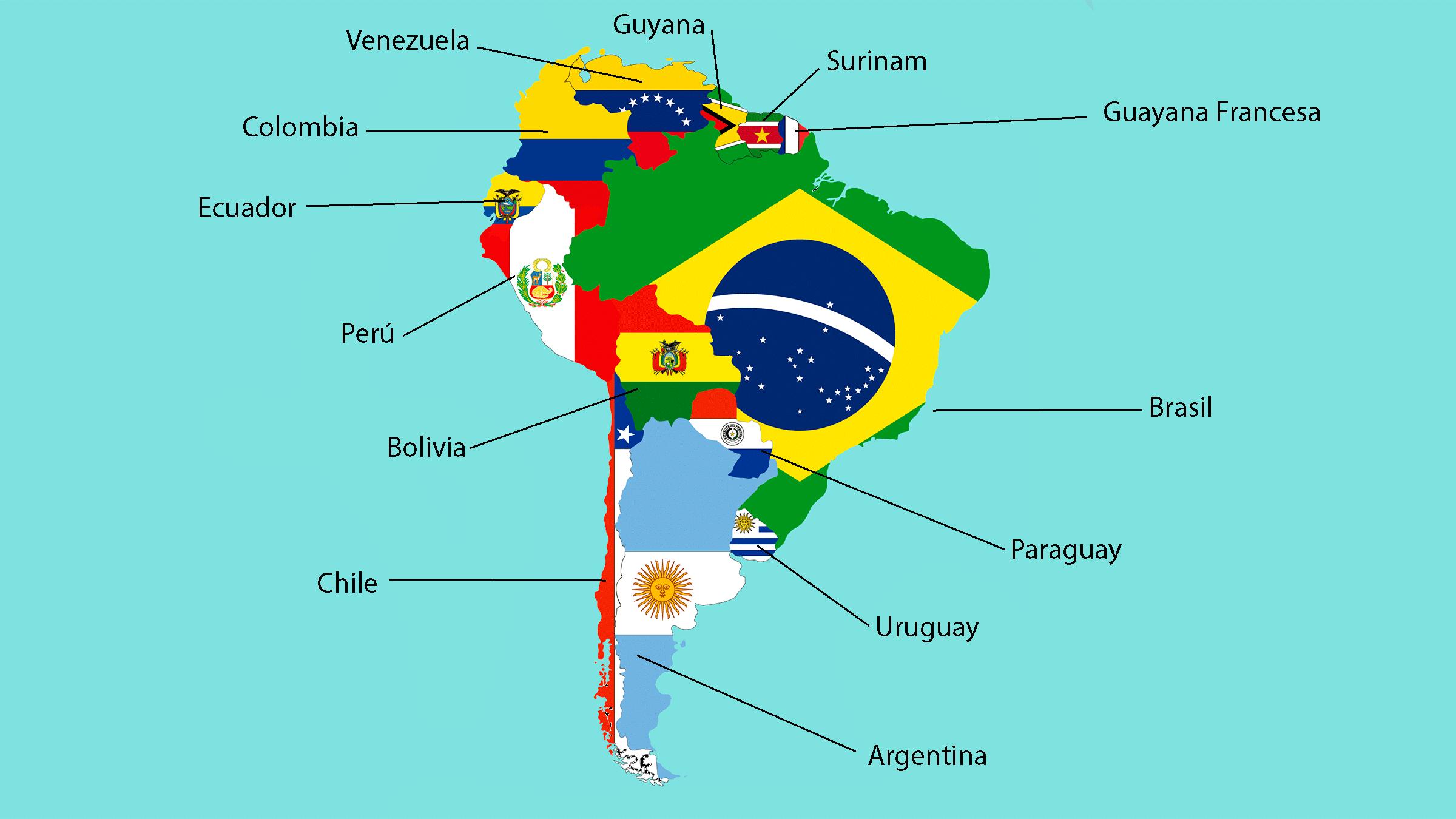 Mapa de las banderas de América del Sur