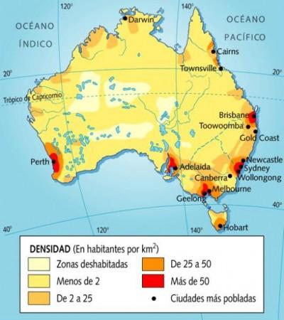 Mapa de población de Australia