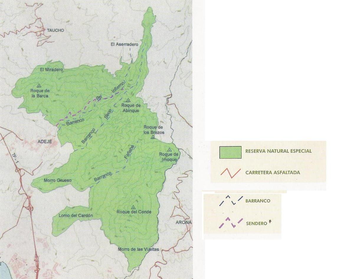 Mapa de senderismo del Barranco del Infierno
