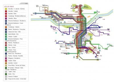 Mapa de transporte de Ourense