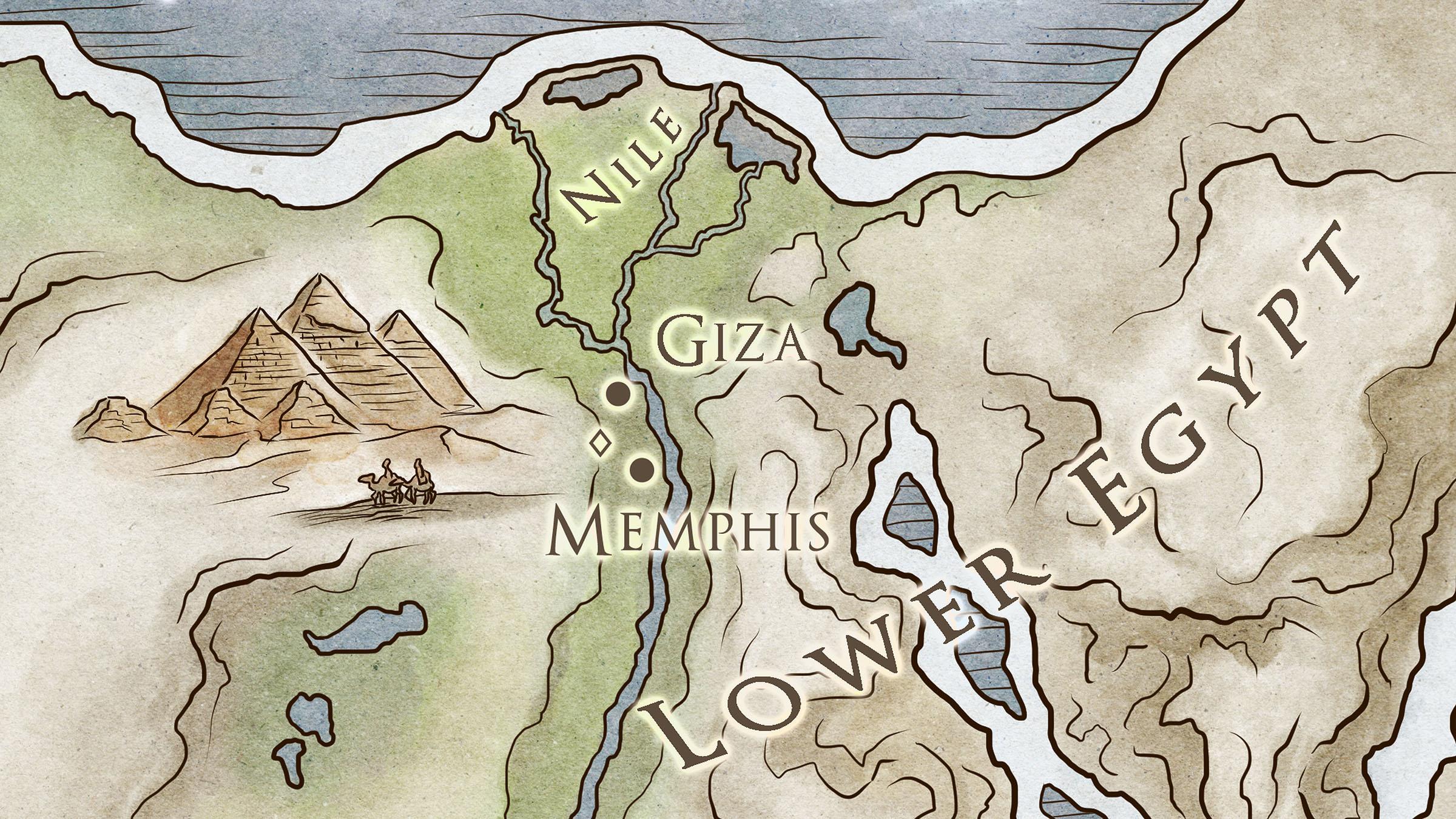 mapa del antiguo Egipto menfis.