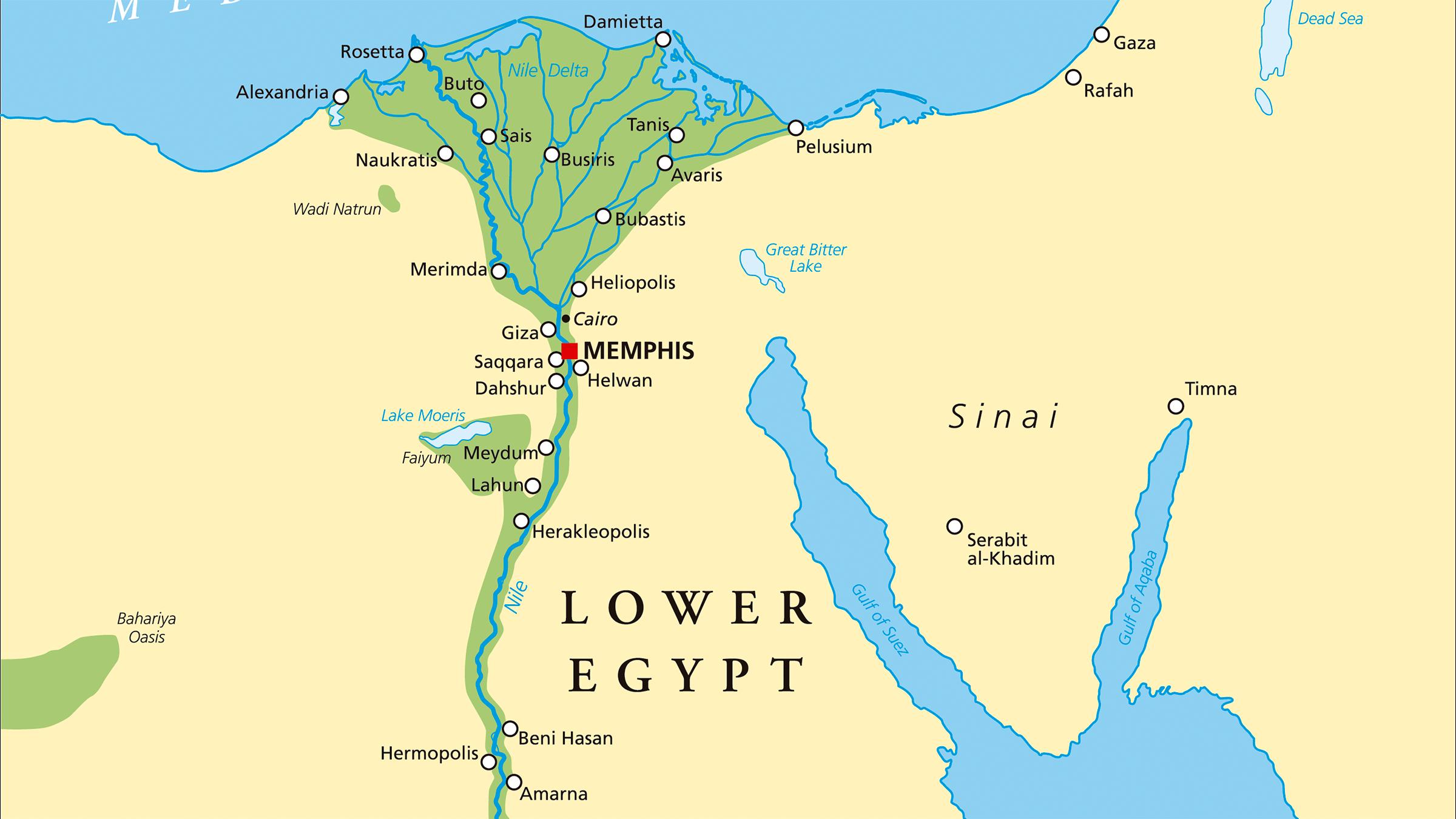 mapa del antiguo Egipto valle nilo