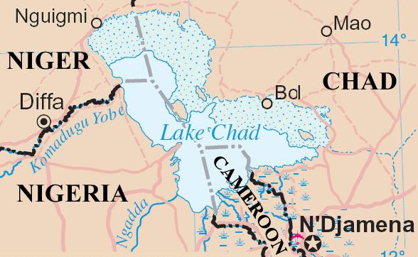 Mapa del Lago Chad.