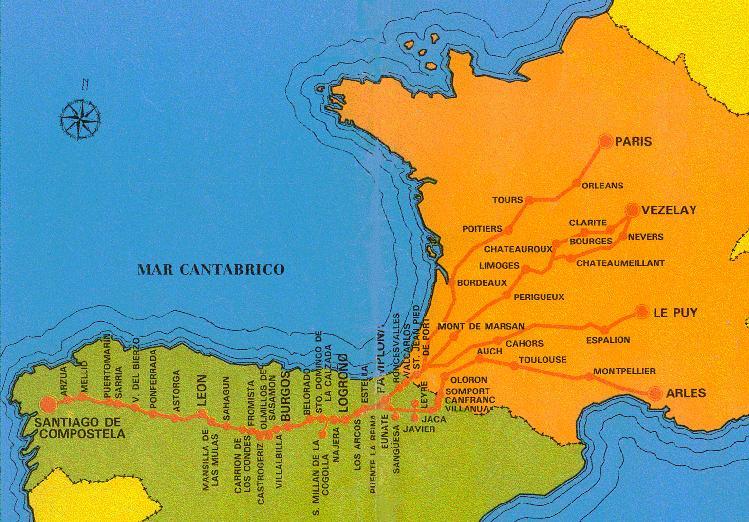 Mapa del recorrido de Santiago