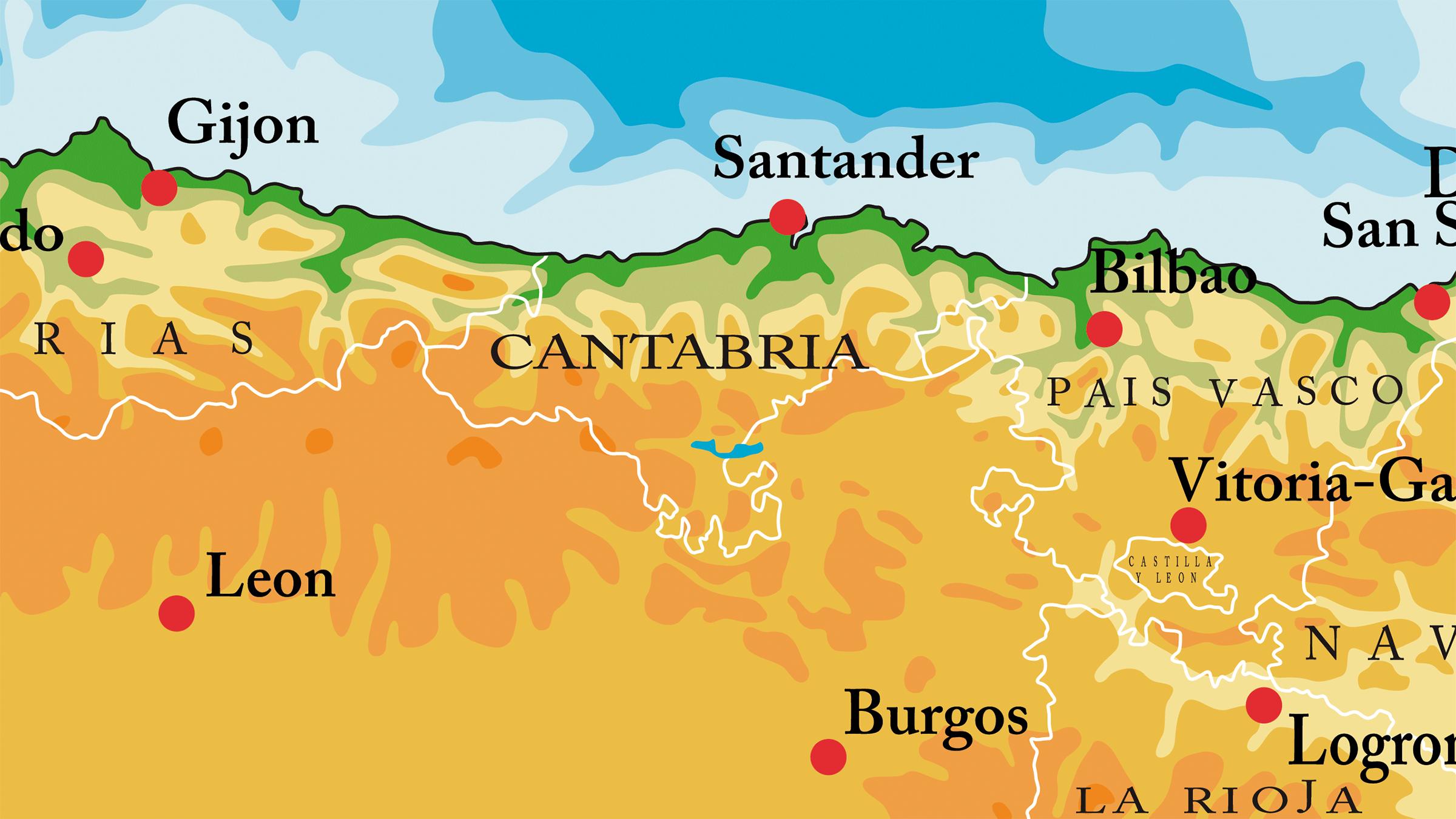 Mapa Físico de Cantabria