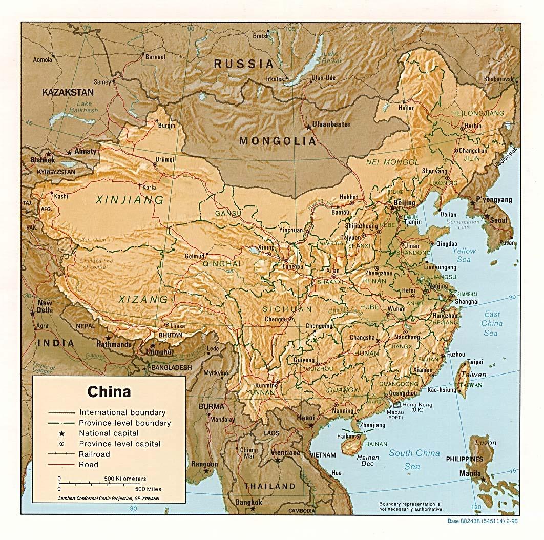 Mapa Físico de China