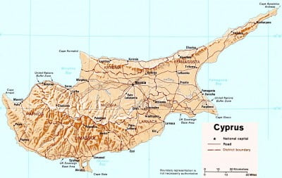 Mapa físico de Chipre